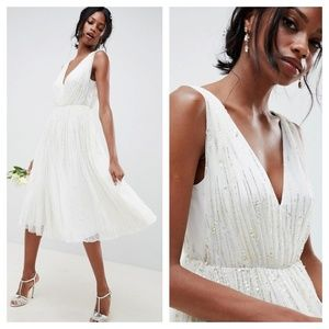 [ASOS] Waterfall Sequin Midi Wedding Dress Bridal